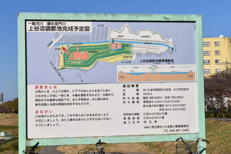 上谷沼調整池完成予定図の看板