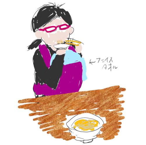 乳児を抱っこしてラーメンを食べる