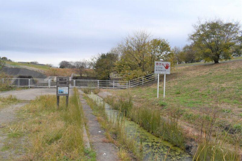 越流堤につながる水路