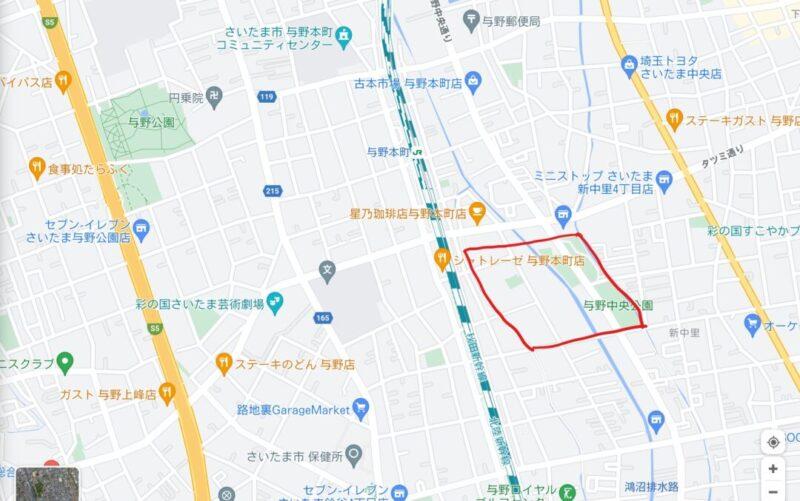 与野中央公園予定地マップ